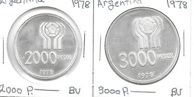 Argentina 1978 World Cup 2000 & 3000 Pesos 2 Commemorative Silver Coins Both BU
