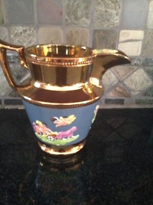 Vintage Copper Lustre Pitcher Blue Band With Chariot and Angels 6''