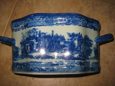 "Victoria Ware Ironstone Decorative PLANTER BLUE  & WHITE 11"" x 5"""
