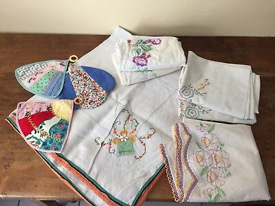 Vintage Lot of Hand Embroidery Linens (5 pillowcases, 3 potholders, Small Table)