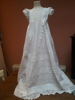 Antique Christening Gown Dress Embroidery Cotton Tiers Stunning Doll Baby Vintag