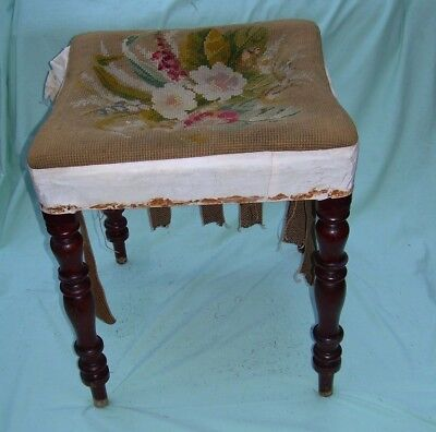 antique tall stool for restoration - piano / dressing table - fab turned legs