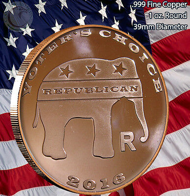 "10 ""Voters Choice"" Elephant & Donkey 1 oz .999 Copper Rounds Limited and Rare"