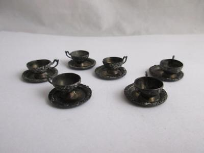 ANTIQUE VICTORIAN c1890 STERLING SILVER mark miniature 6 cups saucer 27.2g j370
