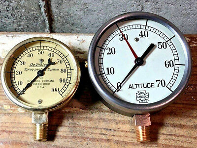 Two LARGE Vintage Brass Pressure Gauge Lot, Thick Beveled Glass, STEAMPUNK