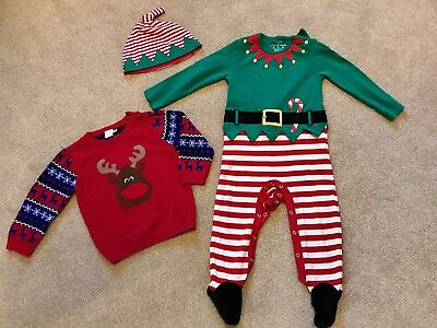 Boys Christmas Jumper And Elf Outfit Size 18-24 Months