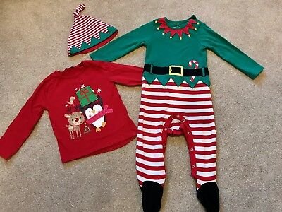 Girls Christmas Top And Elf Outfit 18-24 Months