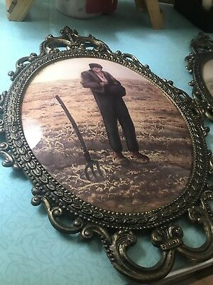 "18"" Large Vintage Antique Ornate Brass Metal Convex Glass Oval Picture Frame"