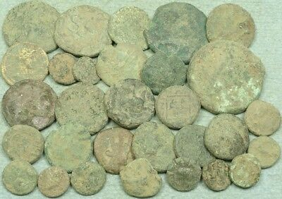 Lot Of 30 Uncleaned Greek Bronze Coins