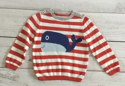 Baby Mini Boden Boys Red Stripe Whale Sweater 2-3 Yrs 2T 3T