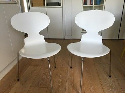 Two Arne Jacobsen Ant Chairs 3 Legged For Fritz Hansen Mid Century Modernist