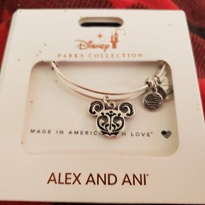 AUTHENTIC Disney Parks Alex and Ani Mickey Mouse Filigree Bangle Bracelet SILVER
