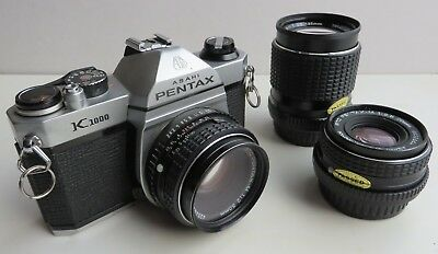 Pentax K1000 camera  zoom and wide angle lenses and accessories