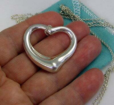 Tiffany & Co Large ELSA PERETTI Sterling Silver 1.5 Inch Open Heart Necklace