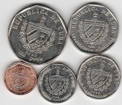 5 different world coins from A CENTRAL AMERICAN COUNTRY