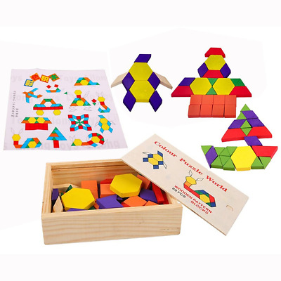 OFKPO GREAT TANGRAM Gift Tangrams Set Brain Puzzles For Kids Colorful  Wooden