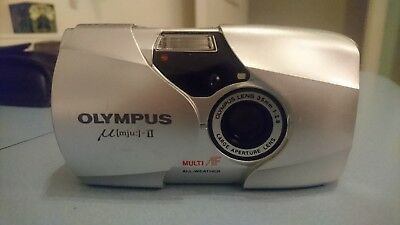 Olympus mju ii f2.8 35mm compact camera all weather large aperture lens and case