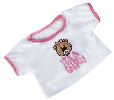 "It's A Girl T-Shirt Teddy Bear Clothes Fits Most 8"" - 10"" Build-a-bear & More -"