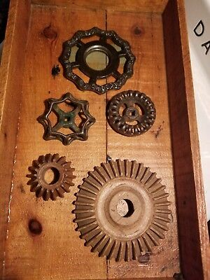 Vintage Steampunk Parts Lot Faucet Handles Wooden Gears!