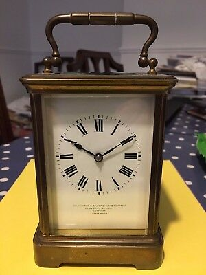 Antique Large Brass Goldsmiths And Siversmiths Carriage Clock Timepiece
