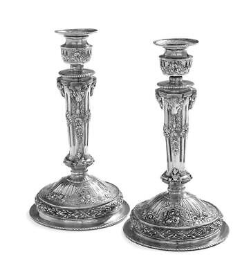 Pair of German Silver Historizmus Candlesticks.