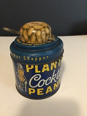 Vintage Planters Peanuts Advertising Tin with Nut Chopper Grinder