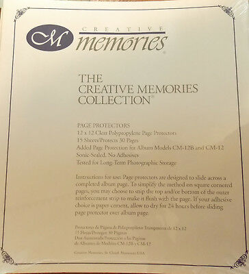 Creative Memories Page Protectors 12 x 12 15 Sheets/30 Pages Old Style Unopened