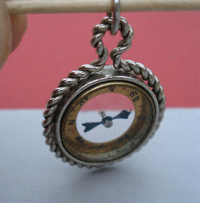 Vintage Compass Fob Double-Sided Pendant For Pocket Watch Albert Chain