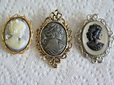 Lot Of Three Large Vintage Cameos Pin Brooches Various Periods