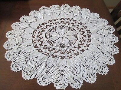 Large Vintage Hand Made Off White Crocheted Doily Table Topper 30 x 28 Inches