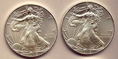 Usa: 2013 Two Lovely Unc Silver Dollar Coins   Low Reserve