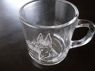 Manchester Terrier-  Beautifully Hand Engraved Glass Mug by Ingrid Jonsson.
