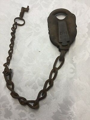 Antique Davenport Mallory & Company Smokehouse Padlock With Key Working