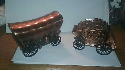 2 Vintage Banthrico Stage Coach & Covered Wagon Cast Metal Coin Piggy Banks