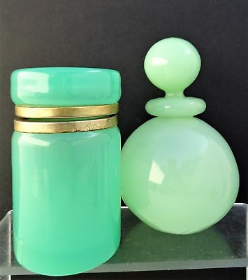 Vintage Lot Of 2 French? Opaline Jade/green Glass Perfume Bottle Trinket Box