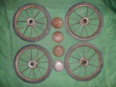 """Vintage Thayer Baby Doll Buggy Carriage Parts 4 Wire Spoke Wheels & Hub Caps 8"""""""