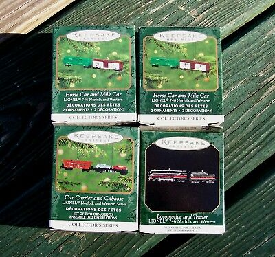 Hallmark Miniature Train Ornaments LOT LIONEL Norfolk & Western  1999-2001