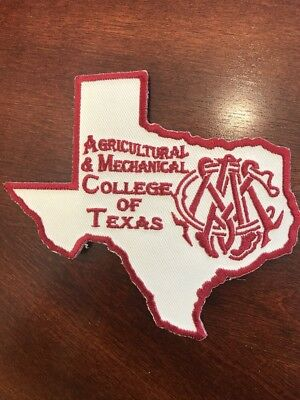 """Agricultural And Mechanical College Of Texas Iron On Patch 4.5"""" X 4"""" Embroidered"""