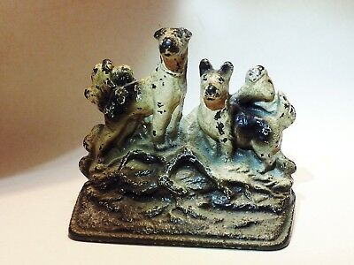 Antique Airedale  Wire fox Rat terrier Iron bookend Corgi Jack Russell dog *