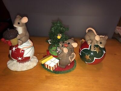 Charming Tails  Lot Of 3 Christmas Figures DEAN GRIFF