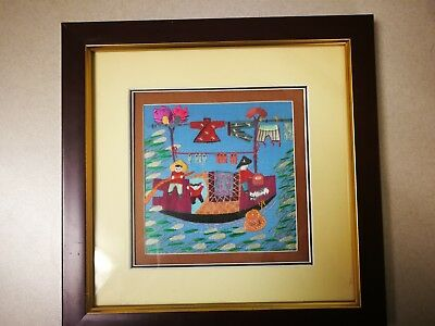 vintage Chinese silk framed w/glass unsigned, BEATIFUL, L@@K