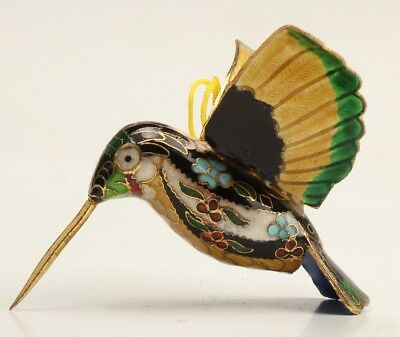 Chinese Silver Blue Cloisonne Figurines Pendant Animal Hummingbird Mascot Old