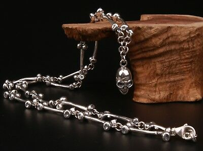 Precious Chinese Genuine 925 Silver Necklaces Old Fashion Exorcism Solid Skull