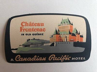 Vintage Hotel Luggage Label for Chateau Frontenac in Old Quebec Canada
