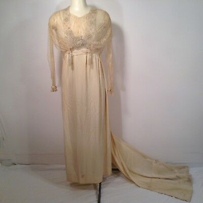 Vintage 1920's Art Deco Ivory Silk Lace Wedding Bridal Dress Gown Size S As Is