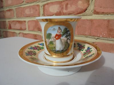Old Antique Early Porcelain Cup & Saucer HP Girl w Sheep Gold Trim Horse Handle