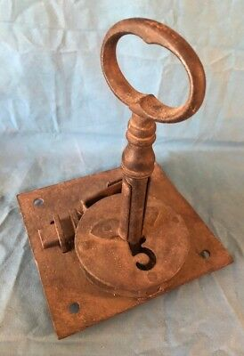 Rustic Architectural Vintage Old Antique Gate / Door Lock & Large Skeleton Key.