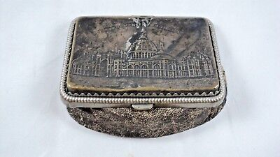 Antique Metal & Leather Coin Purse Embossed Government Building On Top