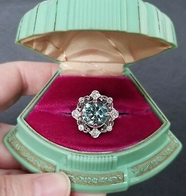 Antique Art Deco Estate Huge 10 ct Genuine Blue Zircon & Diamond Platinum Ring