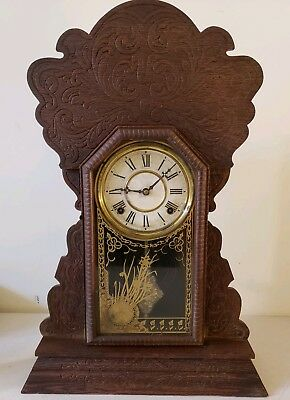 Antique Sessions Victorian Carved Oak Gingerbread Parlor Mantel Clock c.1880